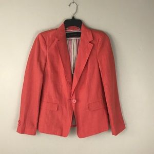 Zara Basic Burnt Orange Linen Blaze Jacket